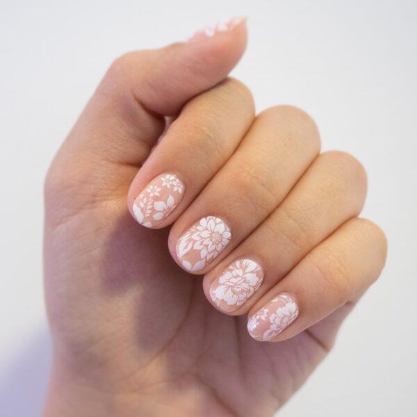 White Peonies Overlay Nail Wraps